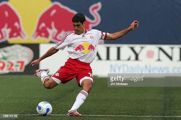 Claudio Reyna of the New York Red Bulls handles the ball against the New England Revolution on July 14, 2007 at Giants Stadium in East Rutherford,...