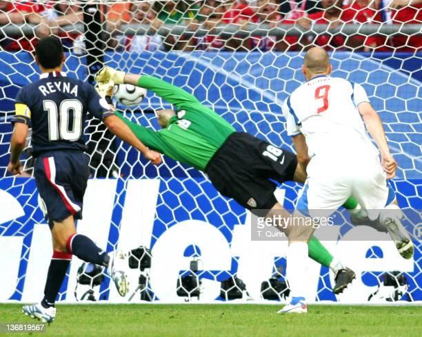 Claudio Reyna watches as Jan Koller's header beats Kasey Keller for first Czech Republc goal The USA fell to the Czech Republic 30 in a group E match...