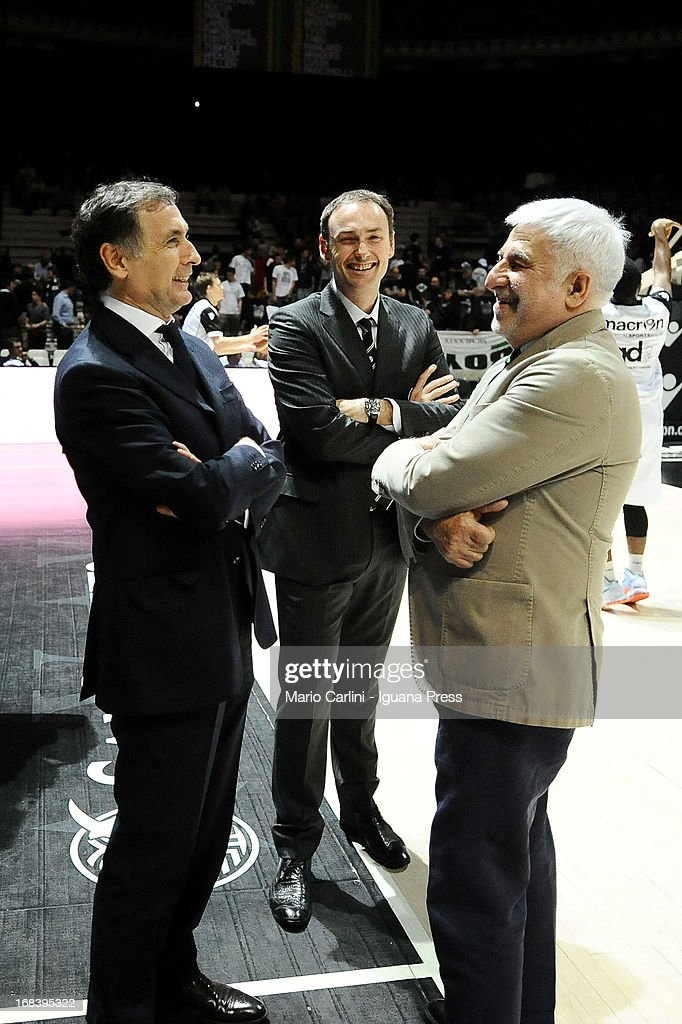 Claudio Sabatini (L), president and Luca Bechi (C), head coach of Oknoplast meets Claudio Arrigoni (R) general manager of Lenovo during the LegaBasket A1 basketball match between Oknoplast Bologna and Lenovo Cantu at Unipol Arena on May 5, 2013 in Bologna, Italy.