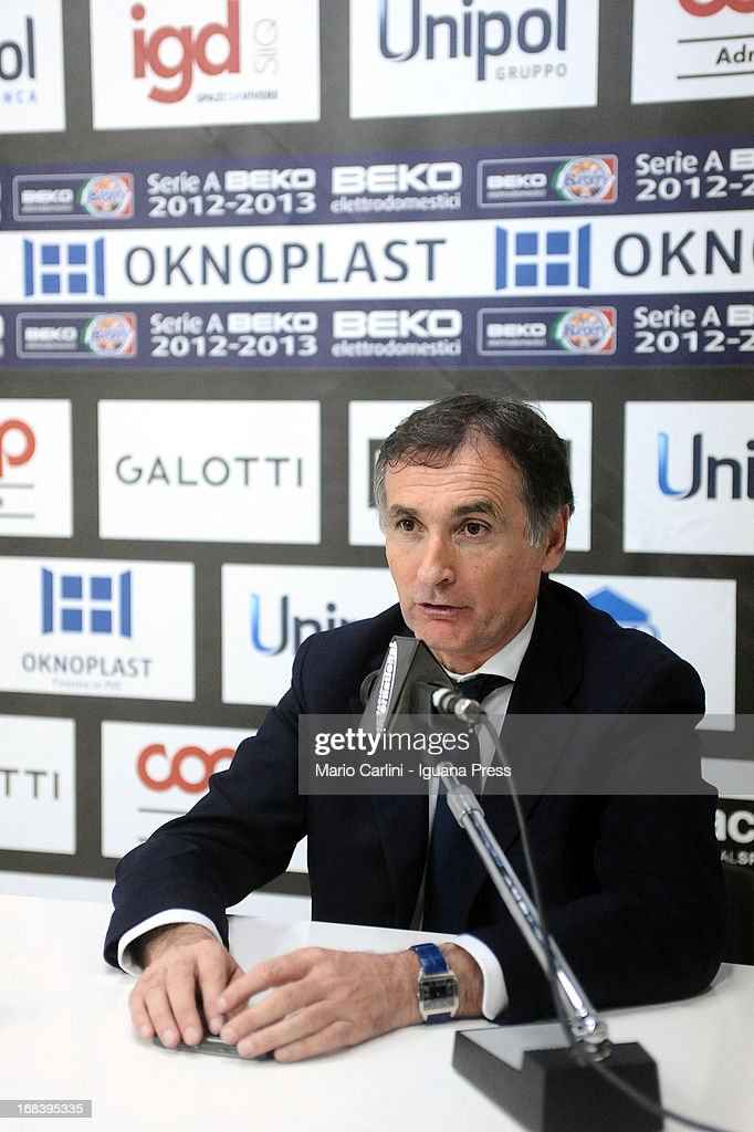 Claudio Sabatini president of Oknoplast announces his resignation during a press conference after the LegaBasket A1 basketball match between Oknoplast Bologna and Lenovo Cantu at Unipol Arena on May 5, 2013 in Bologna, Italy.