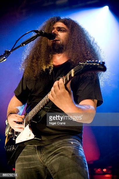 Claudio Sanchez lead singer and guitar player of American rock band Coheed and Cambria performs on stage at the Astoria in London on December 12 2008