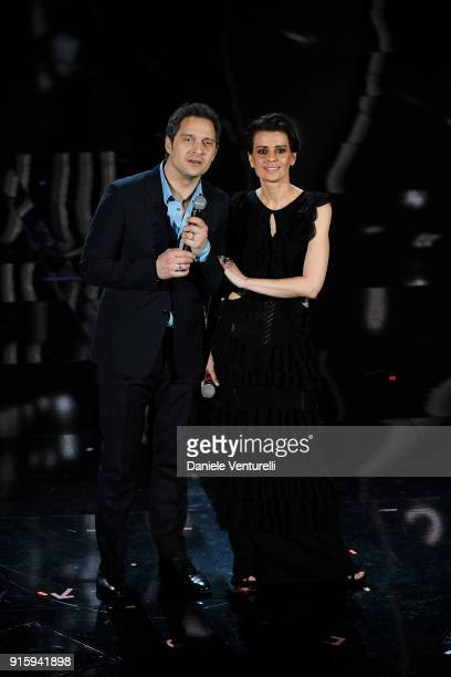 Claudio Santamaria and Claudia Pandolfi attend the third night of the 68 Sanremo Music Festival on February 8 2018 in Sanremo Italy