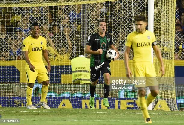 Claudio Spinelli of San Martin celebrates after scoring the second goal of his team during a match between Boca Juniors and San Martin de San Juan as...