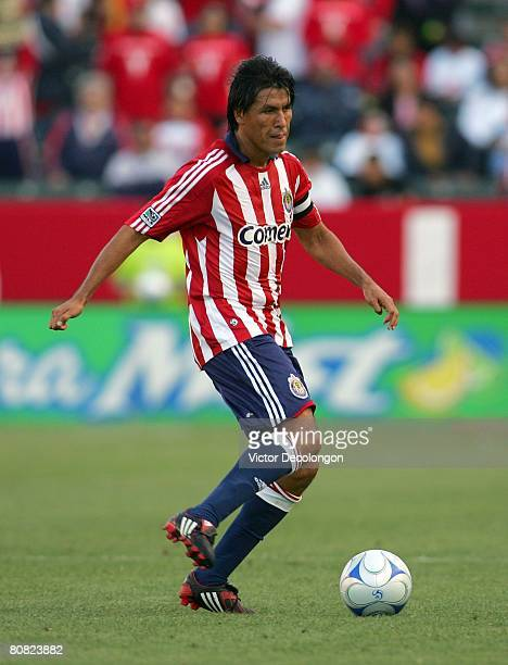 Claudio Suarez of CD Chivas USA looks make a pass play in the first half against FC Dallas during their MLS game at the Home Depot Center on April 20...