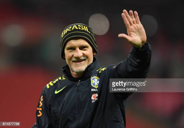 Claudio Taffarel goal keeping coach of Brazil looks on during the International Friendly match between England and Brazil at Wembley Stadium on...