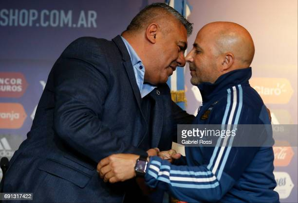 Claudio Tapia President of AFA and Jorge Sampaoli coach of Argentina shake hands during his presentation as new Argentina coach at Argentine Football...