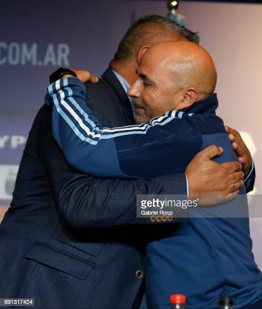 Claudio Tapia President of AFA and Jorge Sampaoli coach of Argentina embrace during his presentation as new Argentina coach at Argentine Football...