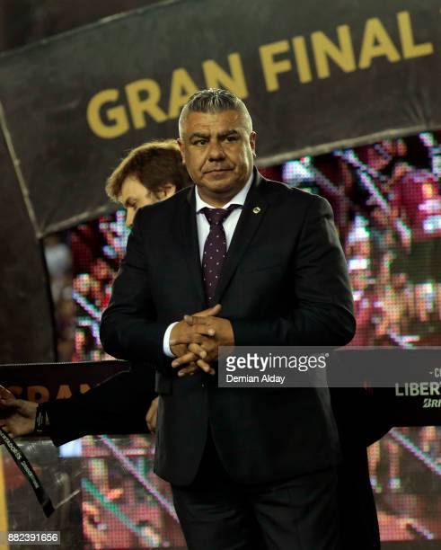 Claudio Tapia President of AFA looks on after the second leg match between Lanus and Gremio as part of Copa Bridgestone Libertadores 2017 Final at...