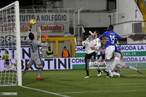Claudio Terzi of Spezia Calcio scores the opening goal during the Serie A match between Spezia Calcio and UC Sampdoria at Stadio Alberto Picco on...