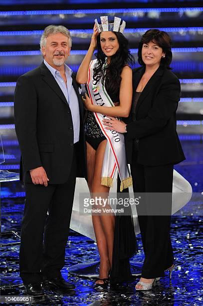Claudio Testasecca Francesca Testasecca and Marina Testasecca attend the 2010 Miss Italia beauty pageant at the Palazzetto of Salsomaggiore on...