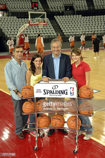Claudio Toti President and Owner of Virtus Lottomatica Roma poses for a picture with Mayor of Rome Walter Veltroni and family members Frederica and...