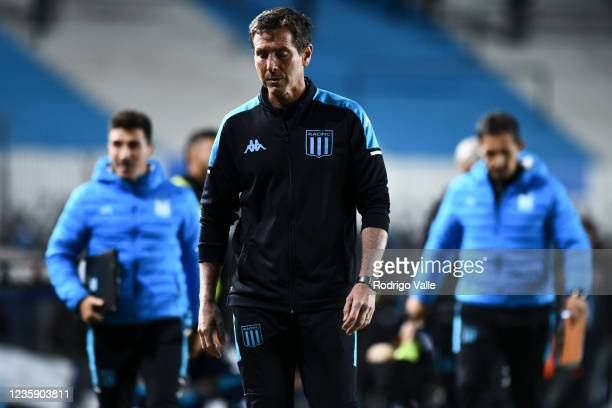 Claudio Ubeda head coach of Racing Club reacts during a match between Racing and Platense as part of Torneo Liga Profesional 2021 at Presidente Peron...