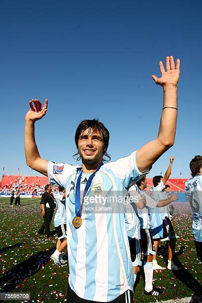 Claudio Yacob of Argentina celebrates after defeating the Czech Republic during the Fifa U20 World Cup Canada 2007 Final at the National Soccer...