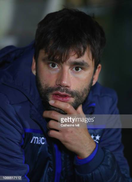 Claudio Yacob of Nottingham Forest looks on from the bench prior to the Carabao Cup Fourth Round match between Burton Albion and Nottingham Forest at...