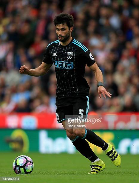 Claudio Yacob of West Brom in action during the Premier League match between Stoke City and West Bromwich Albion at The Britannia Stadium on...