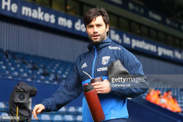 Claudio Yacob of West Bromwich Albion arrives at the stadium prior to the Premier League match between West Bromwich Albion and Swansea City at The...