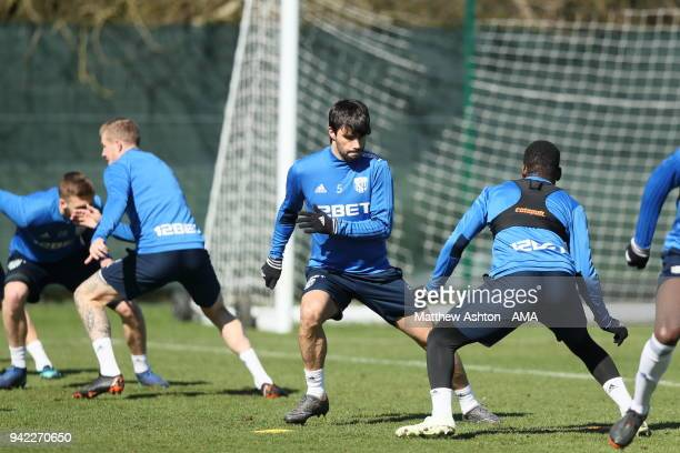 Claudio Yacob of West Bromwich Albion during a West Bromwich Albion training session on April 5 2018 in West Bromwich England