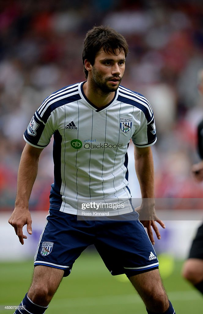 Claudio Yacob of West Bromwich Albion during the pre season friendly match between Nottingham Forest and West Bromwich Albion at the City Ground on August 2, 2014 in Nottingham, England.
