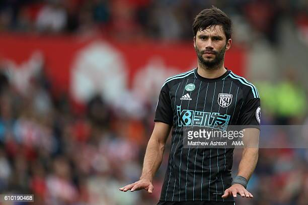 Claudio Yacob of West Bromwich Albion during the Premier League match between Stoke City and West Bromwich Albion at Bet365 Stadium on September 24...