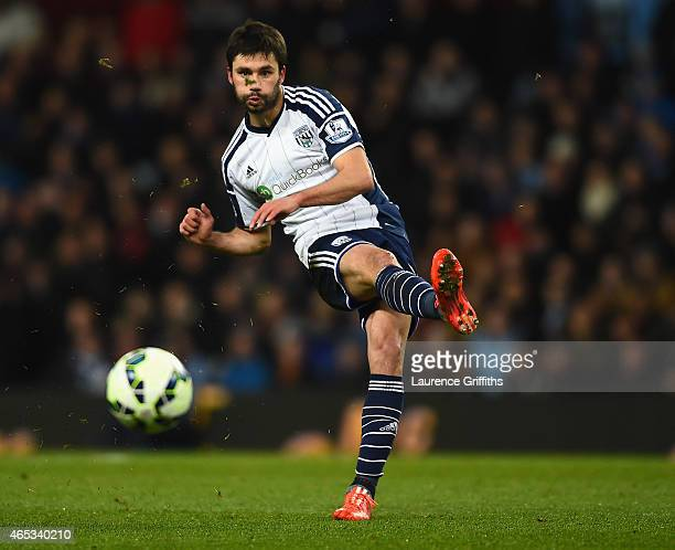 Claudio Yacob of West Bromwich Albion in action during the Barclays Premier League match between Aston Villa and West Bromwich Albion at Villa Park...