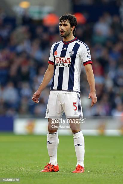 Claudio Yacob of West Bromwich Albion in action during the Barclays Premier League match between West Bromwich Albion and Leicester City at the...