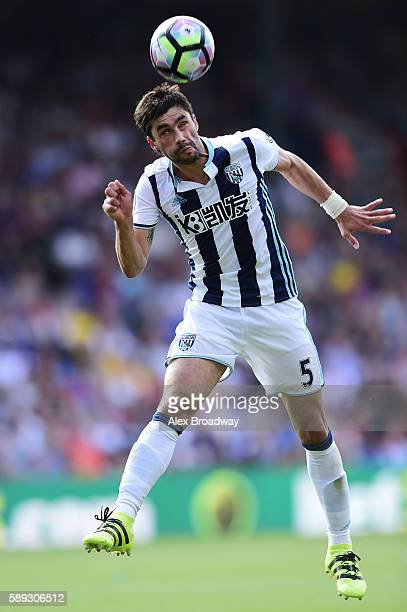 Claudio Yacob of West Bromwich Albion in action during the Premier League match between Crystal Palace and West Bromwich Albion at Selhurst Park on...
