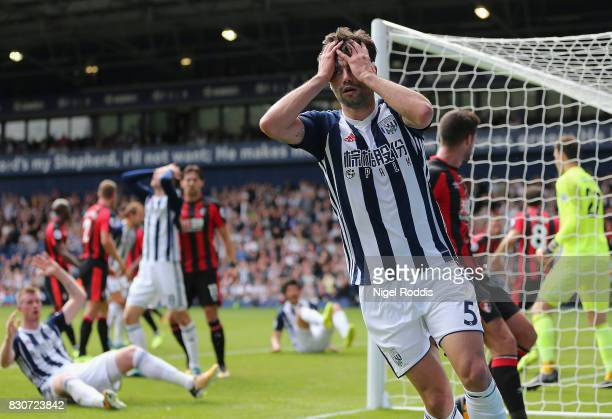Claudio Yacob of West Bromwich Albion reacts during the Premier League match between West Bromwich Albion and AFC Bournemouth at The Hawthorns on...