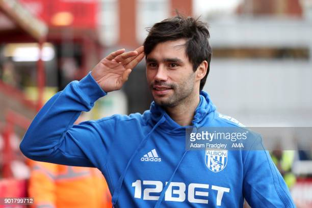 Claudio Yacob of West Bromwich Albion salutes prior to the The Emirates FA Cup Third Round match between Exeter City v West Bromwich Albion at St...