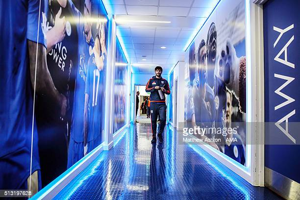 Claudio Yacob of West Bromwich Albion walks down the tunnel at Leicester City as the team arrive before the Leicester City mascot down the tunnel...