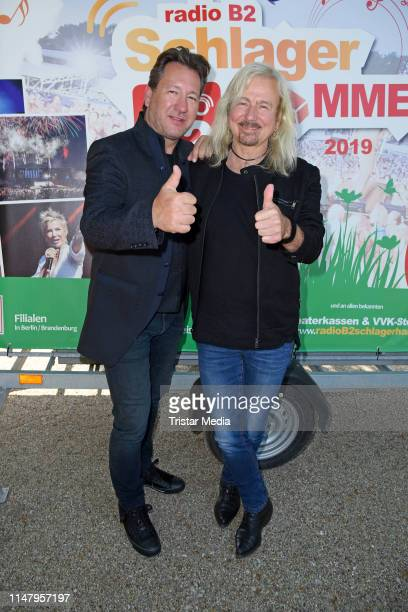 Claudius Dreilich and Bernd Roemer of the band Karat attend the Radio B2 'SchlagerHammer' press conference on June 4 2019 in Berlin Germany
