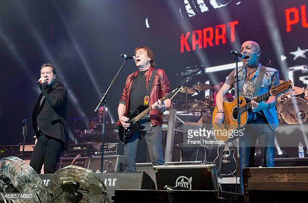 Claudius Dreilich Dieter Birr and Toni Krahl of the German bands Karat Puhdys and City perform live during the concert Rock Legends at the O2 World...