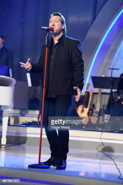 Claudius Dreilich of the band Karat performs during the show 'KULTHITS Die Show mit 100% Livemusik' presented by Kim Fisher at Kongresshalle on April...