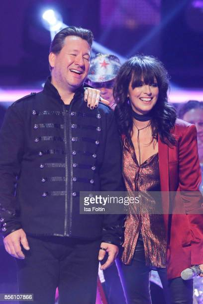 Claudius Dreilich singer of the band Karat with Rock Legenden and Nena during the tv show 'Willkommen bei Carmen Nebel' at TUI Arena on September 30...
