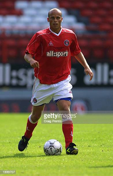 Claus Jensen of Charlton Athletic on the ball during the John Robinson Testimonial match between Charlton Athletic and FC Porto at The Valley in...