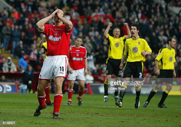 Claus Jenson of Charlton shows his dejection after missing a last minute penalty during the FA Barclaycard Premiership match between Charlton...
