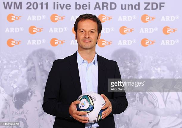 Claus Lufen poses during a photocall with the ARD and ZDF TV presenters for the FIFA Women World Cup 2011 at the Commerzbank Arena on March 17, 2011...