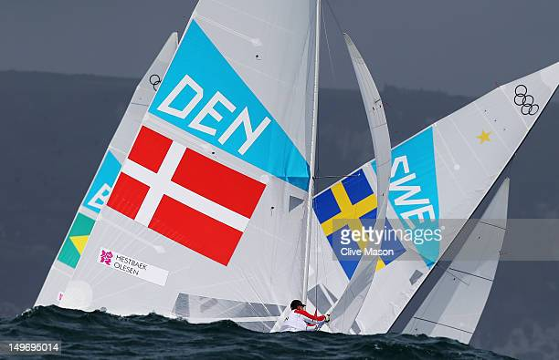 Claus Olesen of Denmark competes in the Men's Star Sailing on Day 6 of the London 2012 Olympic Games at the Weymouth Portland Venue at Weymouth...