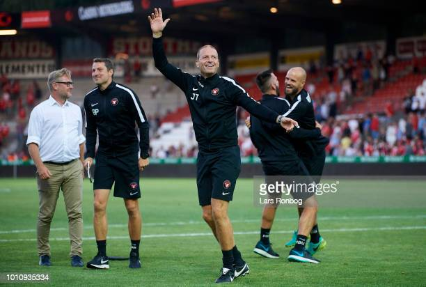 Claus Steinlein director of FC Midtjylland Kristian Back Bak assistant coach of FC Midtjylland Jess Thorup head coach of FC Midtjylland and Brian...