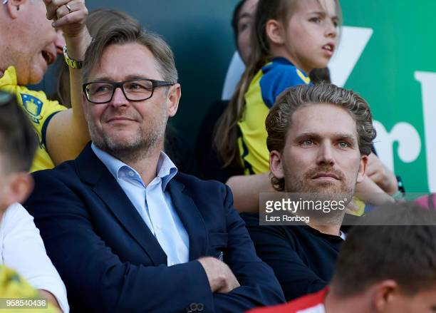 Claus Steinlein sports director of FC Midtjylland and Rasmus Ankersen president of FC Midtjylland on the stand during the Danish Alka Superliga match...
