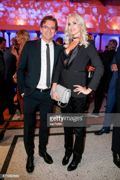 Claus Strunz and model Sarah Knappik during the VDZ Publishers' Night at Deutsche Telekom's representative office on November 6 2017 in Berlin Germany