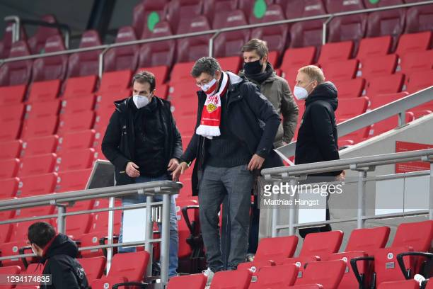 Claus Vogt, President of VfB Stuttgart and Thomas Hitzlsperger, Sporting Director of VfB Stuttgart are seen in the stands prior to the Bundesliga...