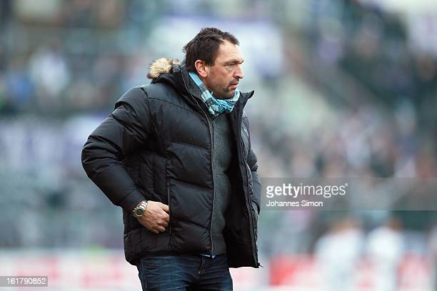 Claus-Dieter Wollitz, head coach of Osnabrueck leaves the pitch after the Third League match between SpVgg Unterhaching and VfL Osnabrueck at...