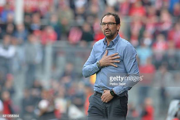 ClausDieter Wollitz of Cottbus is relieved after an unsuccessful attack of Mainz during the Third League match between Energie Cottbus and 1 FSV...