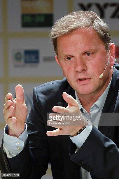 ClausPeter Chacon of Adidas speaks during conference of Soccerex Global Convention at Forte de Copacabana on November 28 2011 in Rio de Janeiro...