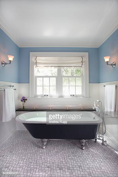 Clawfoot Tub Surrounded with Tile Wainscoting
