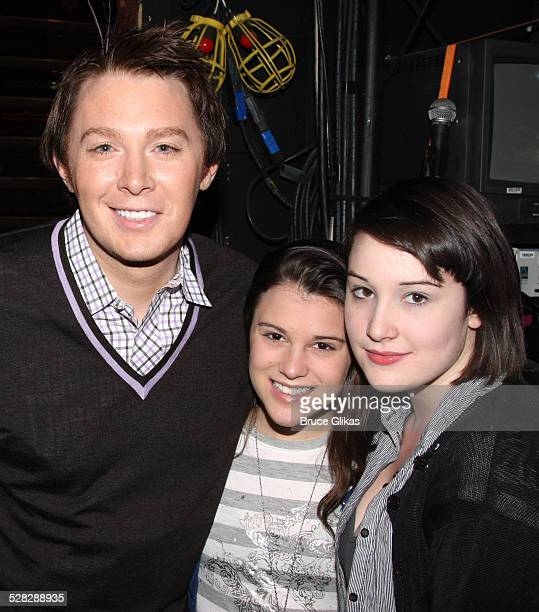 Clay Aiken Alexandra Socha and Emma Hunton pose backstage at Spring Awakening on Broadway at the Eugene O'Neill Theatre on November 3 2008 in New...