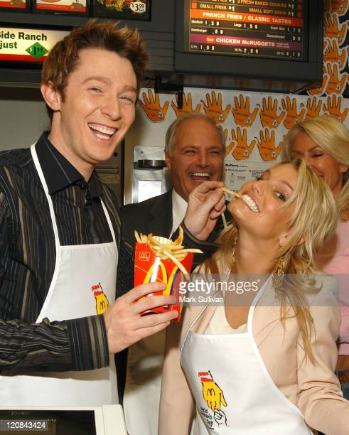 Clay Aiken and Jessica Simpson during 2003 McDonald's World Children's Day at McDonald's Restaurant in Los Angeles California United States