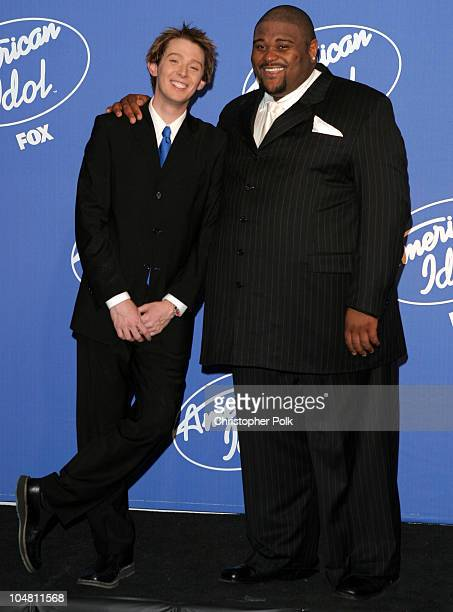 Clay Aiken and Ruben Studdard during American Idol 2 Finals Press Room at Universal Amphitheatre in Universal City CA United States