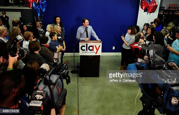Clay Aiken Democratic candidate for US Congress in North Carolina's Second District gives his concession speech during his election night party at...