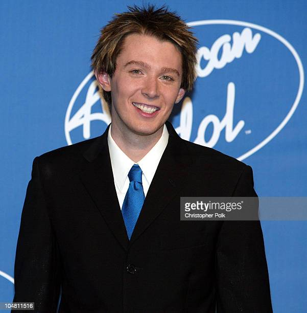 Clay Aiken during American Idol 2 Finals Press Room at Universal Amphitheatre in Universal City CA United States